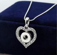 12MM bouton pression collier pendentif en or blanc en forme de coeur avec cristal interchangeable Noosa bijoux gingembre pas cher prix 20pcs