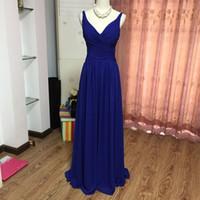 Spaghetti V шеи шифон линия подружки невесты платья королевские синие элегантные Vestidos de Madrinha Новые партийные платья