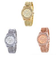 Nuevos 3 mujeres de los colores de Ginebra señoras de lujo de acero de aleación de metal de la moda del reloj del diamante del vestido del análogo de cuarzo para hombre relojes de regalo