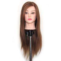 Salon Brown Hair Hairdressing Head Head Mannequin Practice Model + Portaindisposizione Testa di manichino sintetico