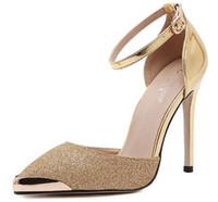 US4-9 новый стиль женские сексуальные высокие каблуки острым носом тонкие каблуки блестками пряжки ремень партия женская обувь золото серебро