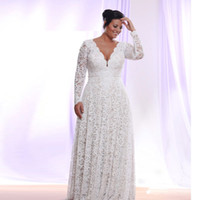 Stunning Lace Plus Size Wedding Dresses With Long Sleeves De...