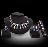 새로운 패션 웨딩 퍼플 블루 크리스탈 보석 세트 신부 들러리 또는 무도회 황금 컬러 목걸이 귀걸이 세트 여성