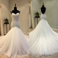 Elegant Mermaid Wedding Dress Fit and Flare Spaghetti Straps Sweetheart Lace Appliques Wedding Gowns Puffy Tulle Backless Wedding Dress