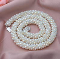 South Sea Irregular 3mm White Natural Pearl Necklace 17inch Beaded Necklaces 925 Silver Clasp