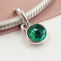 2017 весна 925 стерлингового серебра может капля болтаться очарование шарик с Королевский зеленый кулон подходит Европейский Pandora ювелирные браслеты