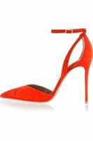 Zandina señoras hechas a mano marca de moda 4 pulgadas correa de tobillo puntiagudo del alto talón partido bombas de oficina zapatos de gamuza roja
