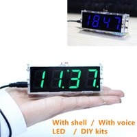 LED DIY digital clock kit with a shell with voice 51 single-...