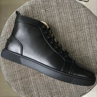 New Mens Womens Black Sheepskin Leather High Top Re Bottom S...