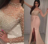Vintage Blush Split Evening Dresses Long Sleeve Luxury Pearl...