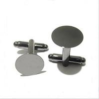 50 unids / lote 18 mm estilo francés Cufflink ajustes en blanco ronda Pad bandeja Cabochon Base para DIY accesorios de ropa
