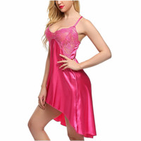 도매 - 여성 란제리 속옷 인공 실크 드레스 가운 가운 잠옷 롱 Babydolls 섹시한 불규칙한 잠옷