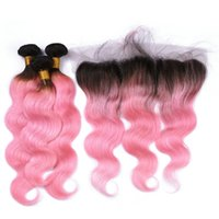 Dos tonos 1B / Pink Ombre 13x4 Lace Frontal Closure con 3 Bundles Body Wave Dark Roots Pink Ombre Brazilian Virgin Hair With Frontal