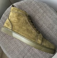 New 2018 mens womens khaki suede leather high top sneakers, d...