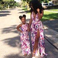 Mãe Filha Veste Mãe Meninas Impressão Floral Vestido Split 2020 Crianças Vestido Feminino Festa De Praia Roupa De Família Roupas De Família B428