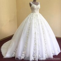 2017 Real Photos Luxury A Line Wedding Dresses With Scoop Ne...