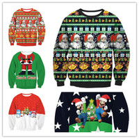 2017 Christmas Sweater Men Women Santa Claus X- mas Tree Rein...
