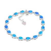 Braccialetto a forma di opale di fuoco bianco / rosa / verde / blu fine di vendita al dettaglio all'ingrosso 925 gioielli placcati argento BDS1513002