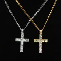 14 K Banhado A Ouro Colar de Pingente de Cruz Hip Hop Congelado Micropave Gemstone Homens Mulheres Moda Jóias