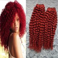 Röd mongolsk kinky lockigt jungfru hår lockigt mänskligt hår 200g 2st avro kinky lockigt hår mänsklig väv dubbel väftkvalitet, ingen shedding