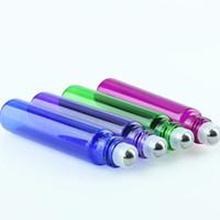 Новое прибытие Прицепные труб 10ML Стеклянные Roller Масляные Бутылки Синий Фиолетовый Зеленый Красный 10 мл Roll On Бутылки Ароматерапия Ароматы 1100Pcs завод Цена
