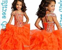 Bling brillant perle d'orange ritzee ritzee girl robe robes d'épaule Barmza volants robes de bals princesse
