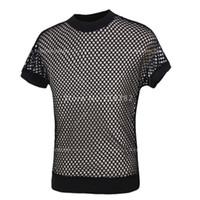 도매 - 판매! 새로운 패션 섹시한 남자 블랙 망사 스타킹 TopsTransparent 남성 T 셔츠 순 메쉬 게이 재미 셔츠 땀받이를 참조 스루