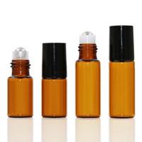 5ML 1 / 6oz Amber Cam Rulo Açık Şişe Boş Esansiyel Yağı Parfüm Rollon Tüp Metal Silindir Topu Şişe Siyah Kapak Seyahat Taşınabilir