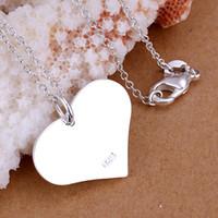 10PCS / lot الحرة الشحن 925 الفضة الاسترليني مطلي القلب العلامة التجارية قلادة LKNSPCP143