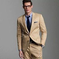 Handsome Khaki Wedding Tuxedos Slim Fit Suits For Men Grooms...