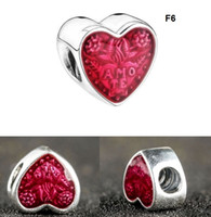 925 Sterling Silver heart Charm Beads Fit Pandora Bracelet G...