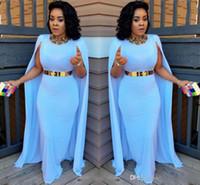 Luz Azul Plus Size Cape Style Vestidos de Noite 2017 Bainha Comprimento do Assoalho Vestidos de Noite Aso Ebi Sul Africano Mulheres Formal Party Vestidos