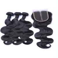 Малазийские С волосами Закрытие 3 или 4шт Body Wave Human Уток волоса с закрытием Отчисления Продукты для волос