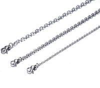 100ピースロットファッション女性の卸売銀ステンレス鋼溶接強い薄いローロoリンクネックレスチェーン2mm / 3mm幅