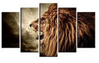 YIJIAHE Painting Modern Wall Art, Lion Picture Print on Canva...