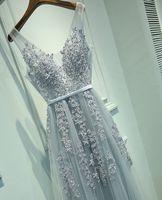 Tarde V-cuello del vestido atractivo del traje de soirée alta calidad Gris de tul con apliques vestidos de noche real Foto Vestido de Festa