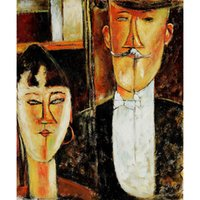 Abstract Woman oil painting Amedeo Modigliani Bride and Groom hand-painted portrait art wall decor