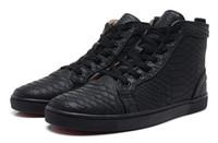 Snakeskin Red Bottoms Sneakers para homens designers de luxo High top skate sneakers mulheres conforto casual sapatos preço atacado tamanho 36-46