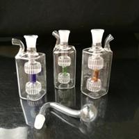 Pequeno quadrado pote de vidro bongos acessórios, Atacado acessórios de vidro bongos, vidro hookah, tubulação de água de fumo frete grátis