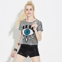 Funny T Shirts Women Haut Femme Sequined Tops Big Eyes Print...