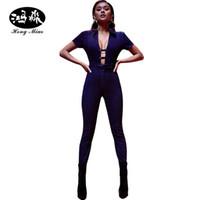 Venta al por mayor- Mujeres Jeans Jumpsuit Sexy Denim Rampers Vendaje Hollow Sash Front Lit Up Azul Jean Profundo V Cuello Body Skinny Sumpsuits Mujeres