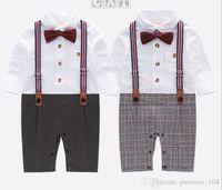 Europa e América estilo recém-chegados outono bebê crianças escalada romper algodão manga longa xadrez Red bow romper menino cavalheiro tiras romper