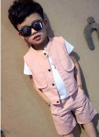 Ropa para niños Baby boy Conjuntos cortos de tres piezas Moda para niños Venta al por mayor Verano Niños Ropa para niños Chaleco para niños + Camiseta + Pantalones cortos
