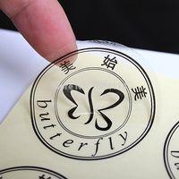 Etiqueta de embalaje transparente transparente de la etiqueta de la etiqueta de la etiqueta de la etiqueta de la impresión del logotipo de la forma del corte de la forma adhesiva adhesiva