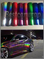 Çeşitli Renk Krom Holografik Vinil Film araba hava kabarcığı Ücretsiz Gökkuşağı Bukalemun Krom Wrap LASER Folyo ile sarmak için 1.52x20m / 5x67ft