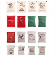 2017 Sacchetti regalo di Natale Borsa grande in tela pesante organica Borsa con coulisse di sacco di Babbo Natale con renne Borse di sacco di Babbo Natale per bambini
