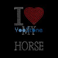 Custom For Sale Ich liebe mein Pferd Strass Transfer Eisen auf Hot Fix Motiv für T-Shirts
