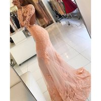 Mermaid Peach Prom Dresses Maniche lunghe Backless Lace Lunghezza pavimento Sexy Style Floor Length Girls Party Gowns Custom Size