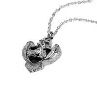 Лилия из нержавеющей стали кремации ювелирные изделия черная эмаль щит мотоцикл Мемориал зола кулон урна ожерелье на память с мешком подарка и цепи