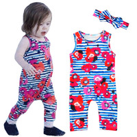 Baby Girls Romper Jumpsuit 2017 Summer Stripe Flower Sleevel...